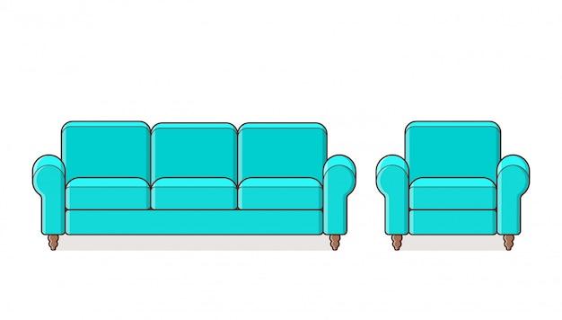 Türkisfarbenes couch-set
