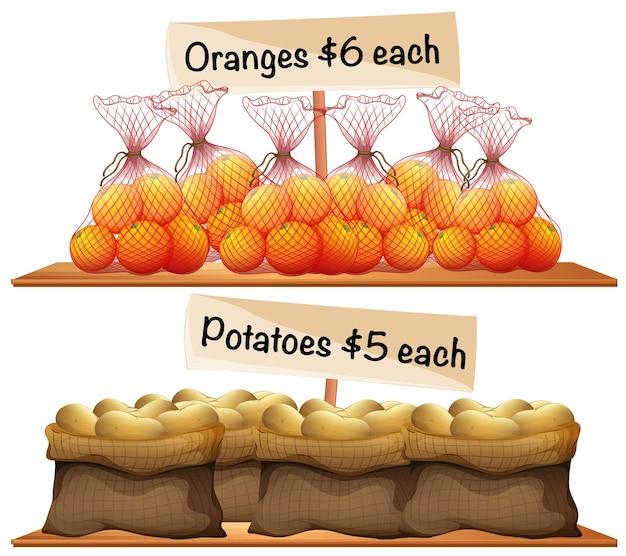 Tüten kartoffeln und orangen