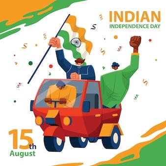 Tuk tuk fahrt zum indischen unabhängigkeitstag