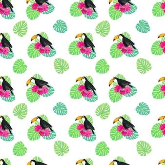 Tukan tropischer vogel monstera verlässt nahtloses muster mit exotischen blättern und blumen des tukans