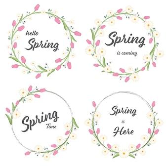 Tulpen- und gänseblümchenfrühlingskranzsammlung