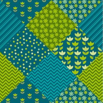Tulpenblumen- und geometriemotivpatchwork der blauen und grünen farbe. einfaches sortiertes fleckenillustrationsdesign.