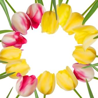 Tulpenblumenhintergrund mit einem copyspace.