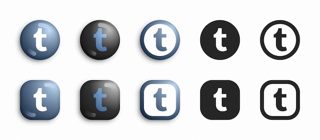 Tumblr modern 3d und flat icons set