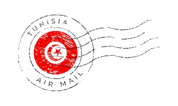 Tunesien-briefmarke. nationalflaggen-briefmarke lokalisiert auf weißer hintergrundvektorillustration. stempel mit offiziellem länderflaggenmuster und ländernamen