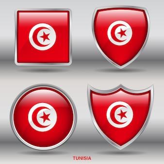 Tunesien flag bevel 4 formen symbol