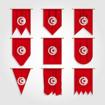 Tunesien flagge in verschiedenen formen, flagge von tunesien in verschiedenen formen
