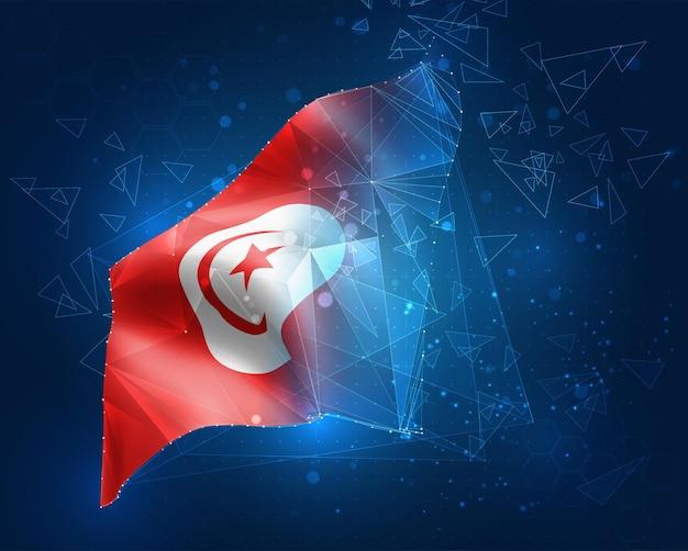 Tunesien, vektorflagge, virtuelles abstraktes 3d-objekt aus dreieckigen polygonen auf blauem hintergrund