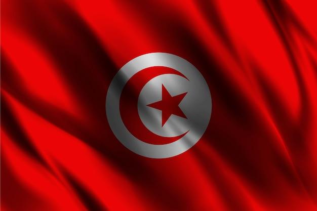 Tunesische nationalflagge, die seidenhintergrund winkt
