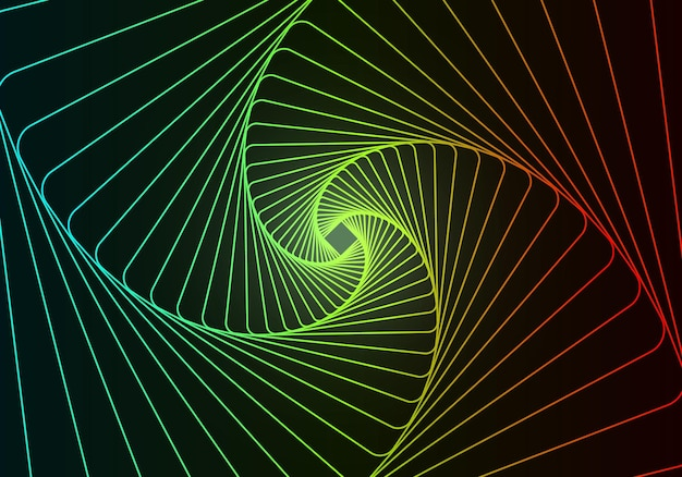 Tunnel abstraktes design mit neonstrichlinien und fließendem 3d-tunnelgitter