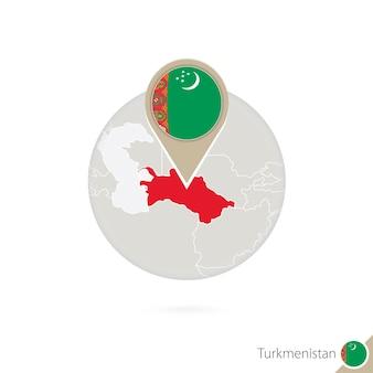 Turkmenistan-karte und flagge im kreis. karte von turkmenistan, turkmenistan-flaggenstift. karte von turkmenistan im stil des globus. vektor-illustration.