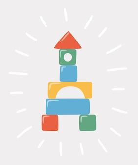 Turm von kinderspielzeugblöcken. mehrfarbige hölzerne kindersteine zum bauen und spielen. bildungsspielzeug für kinder im vorschulalter für die frühkindliche entwicklung. illustration