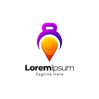 Turnhalle fitness platz gradient logo design