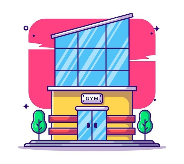 Turnhalle gebäude cartoon illustration