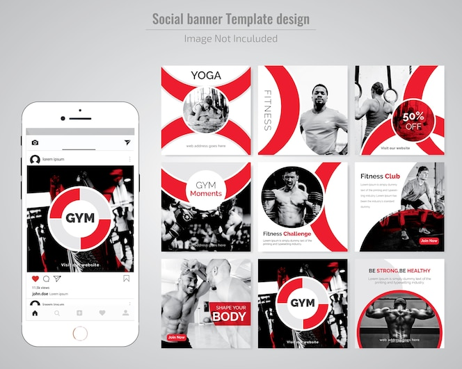 Turnhalle, gymnasium & yoga social media beitragsvorlage