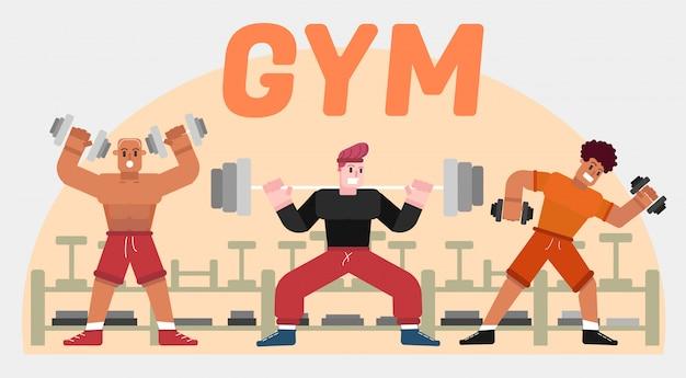 Turnhalle workout konzept illustration