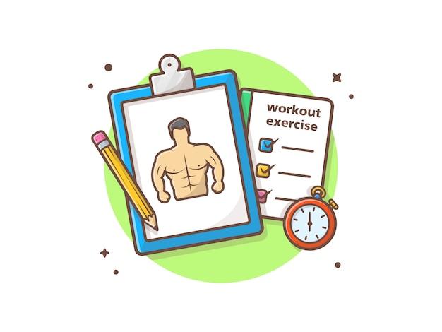 Turnhallen-trainings-übungs-ikonen-illustration