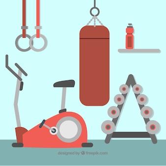 Turnhallenhintergrund mit den verschiedenen maschinen zum zu trainieren