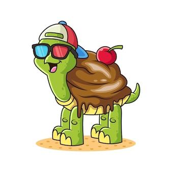 Turtle ice cream cartoon. tierillustration, lokalisiert auf weißem hintergrund