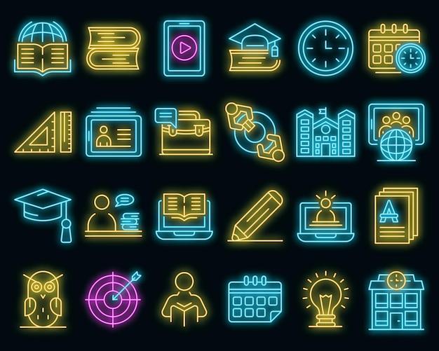 Tutor-symbole gesetzt. umrisse von tutor-vektorsymbolen neonfarbe auf schwarz