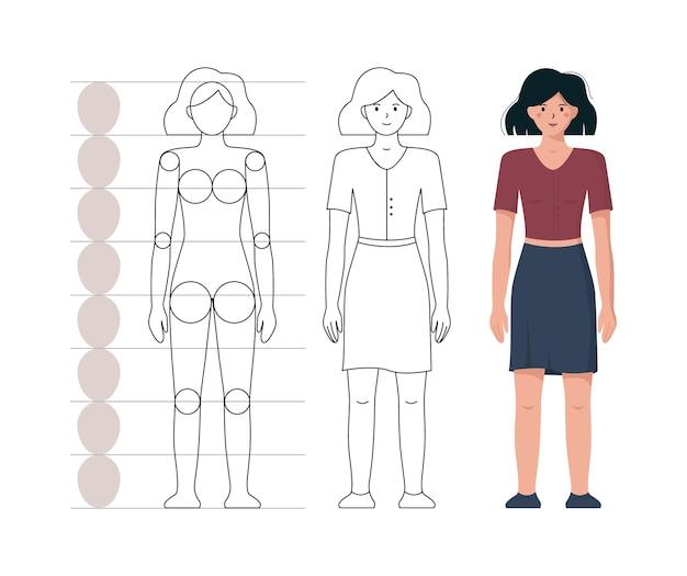 Tutorial zum zeichnen von proportionen und der menschlichen anatomie