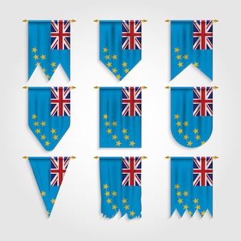 Tuvalu flagge in verschiedenen formen, flagge von tuvalu in verschiedenen formen
