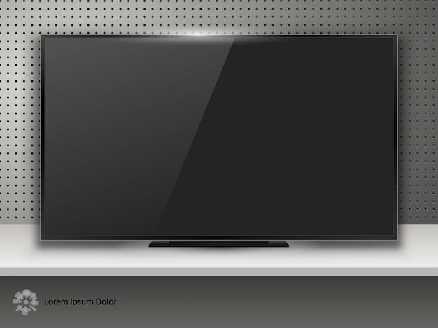 Tv-bildschirm auf schreibtisch
