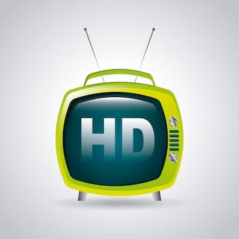 Tv hd über grauer hintergrundvektorillustration