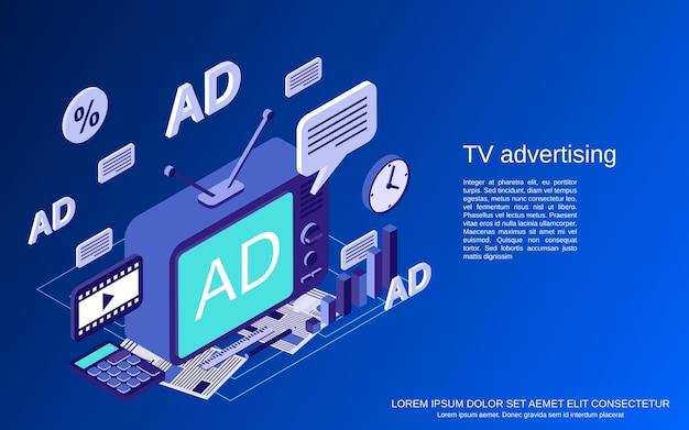 Tv-marketing, flache isometrische vektorkonzeptillustration der werbung
