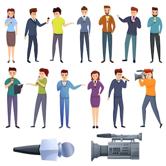 Tv-moderator icons set, cartoon-stil