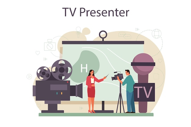Tv-moderator-konzept
