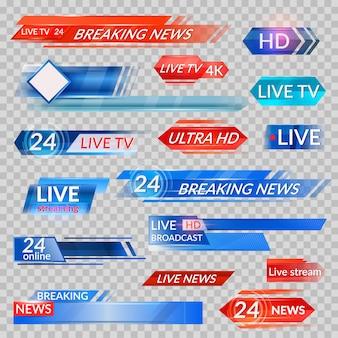 Tv-nachrichten und streaming-video-set