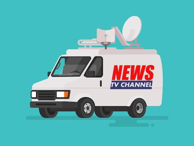 Tv-nachrichtenauto mit ausrüstung auf dem dach. van auf isoliert. in einem flachen stil