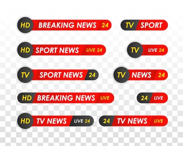 Tv-nachrichtenleiste. logos, newsfeeds, fernsehen, radiosender. titelbanner für fernsehsendungen. sport nachrichten