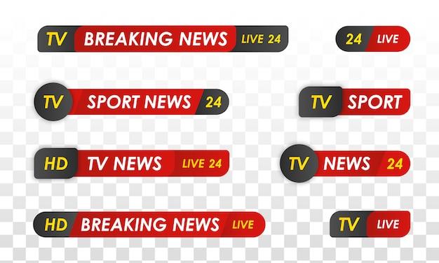 Tv-nachrichtenleiste. sport nachrichten. fernsehübertragungsmedien.