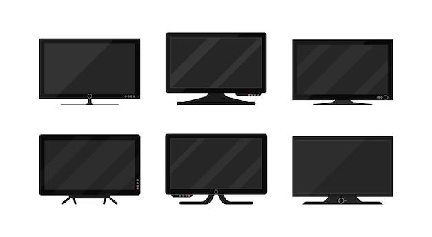 Tv-plasma-isolat auf weißem hintergrund. moderner leerer lcd-tv-digitalbildschirm, display, panel. großer modellcomputermonitor. illustration ,.