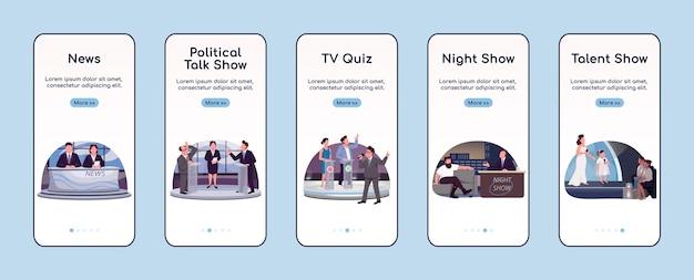 Tv-programmierung onboarding mobile app bildschirm flache vorlage. walkthrough-website der fernsehbranche mit charakteren. ux, ui, gui smartphone cartoon-oberfläche, falldrucke eingestellt