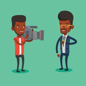 Tv-reporter und betreiber illustration.