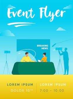 Tv-show-shooting mit filmteam und backstage-flyer-vorlage