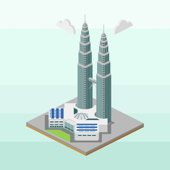 Twin towers von malaysia in isometrischer