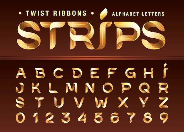 Twist ribbons alphabet buchstaben und zahlen, modern origami stilisiert gerundet