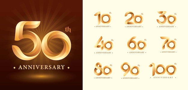 Twist ribbons logo, origami stilisierte zahlenbuchstaben, jubiläumslogo Premium Vektoren