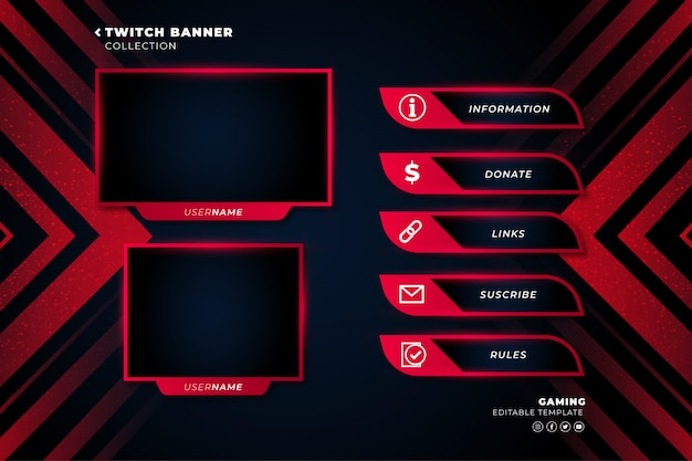 Twitch banner collection für live-stream-vorlage