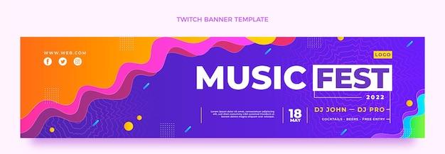Twitch-banner für das musikfestival mit farbverlauf