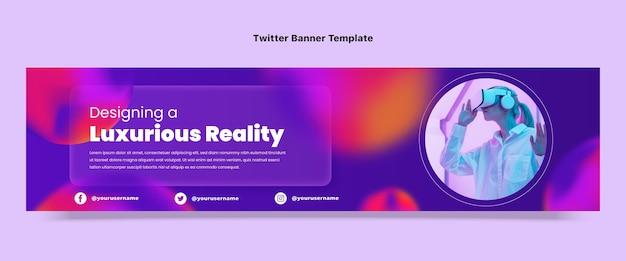 Twitch-banner mit gradient fluid-technologie