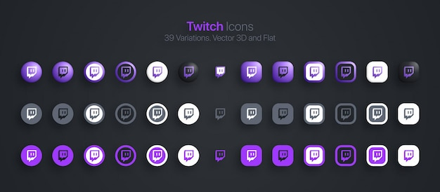 Twitch icons set modernes 3d und flach in verschiedenen variationen