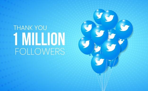 Twitter 3d ballons sammlung für banner und meilenstein leistung präsentation