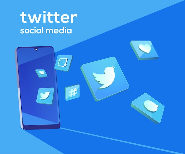 Twitter 3d social media icons mit smartphone-symbol