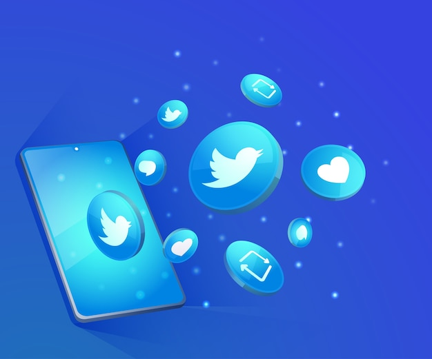 Twitter 3d social media icons mit smartphone-symbol