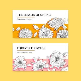 Twitter banner vorlage mit spring line art konzept design aquarell illustration